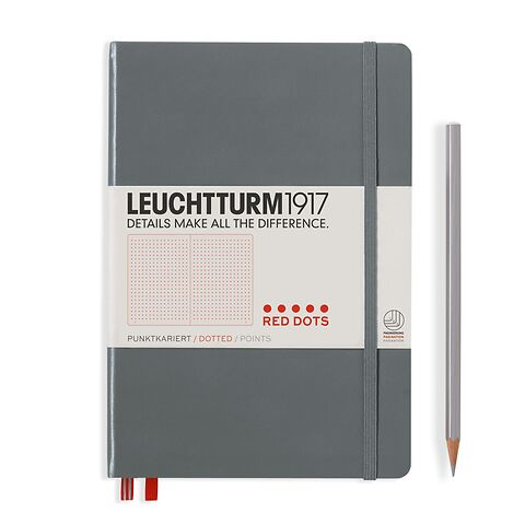 Notizbuch Medium (A5), Red Dots, Hardcover, 251 nummerierte  Seiten, Anthrazit, Dotted