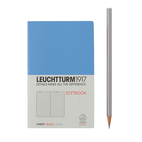 Jottbook Pocket (A6) 60 Seiten, 16 Blatt perforiert, liniert, Kornblume