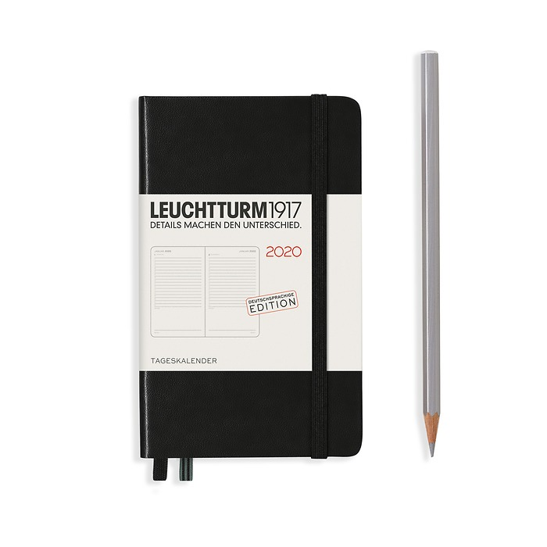 Tageskalender Pocket (A6) 2020, Schwarz, Deutsch