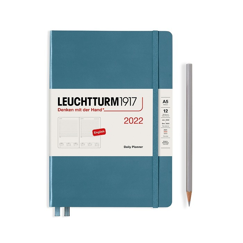 Tageskalender Medium (A5) 2022, Stone Blue, Englisch