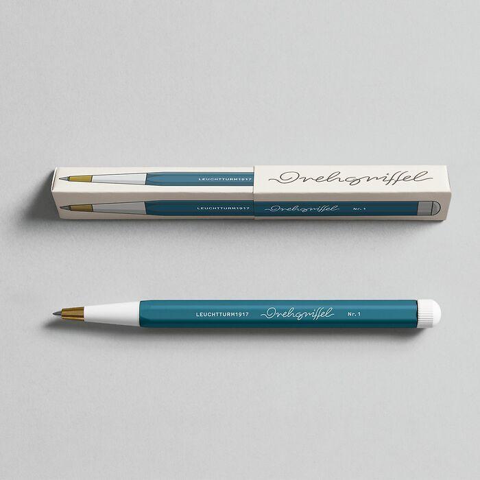 Drehgriffel Nr. 1, Stone Blue - Gelstift mit schwarzer Tinte