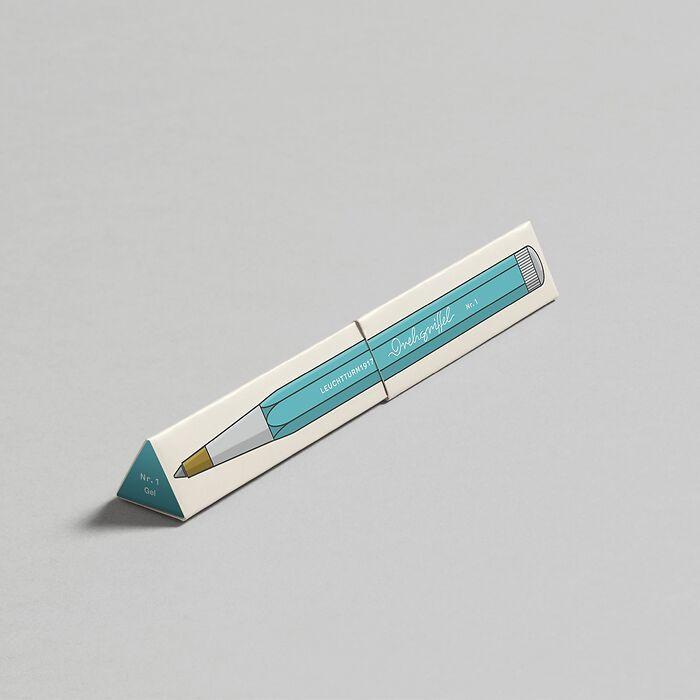 Drehgriffel Nr. 1, Aquamarine - Gelstift mit schwarzer Tinte