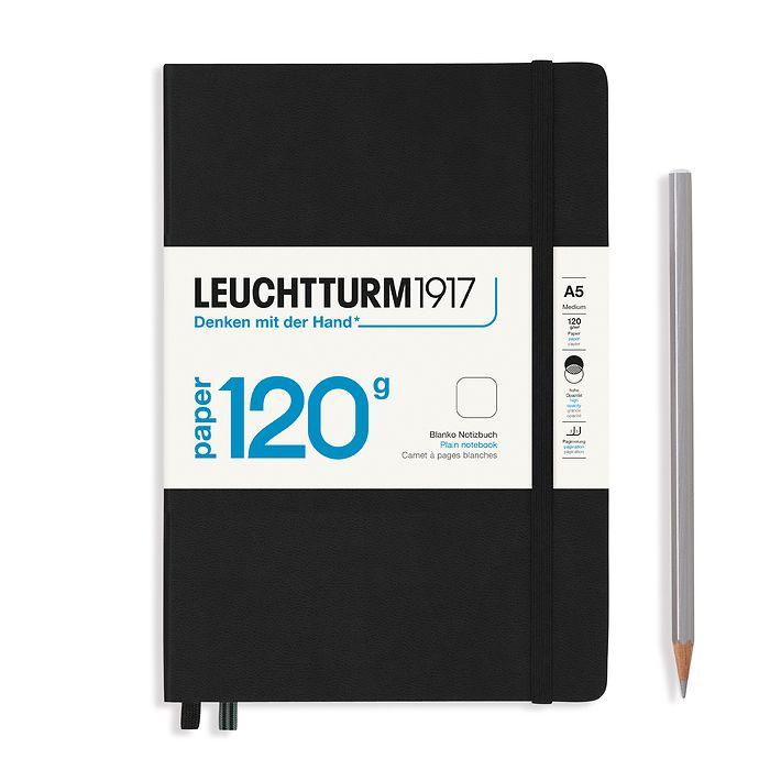 Notizbuch Medium (A5), EDITION 120, Hardcover, 203 nummerierte Seiten, Schwarz, blanko