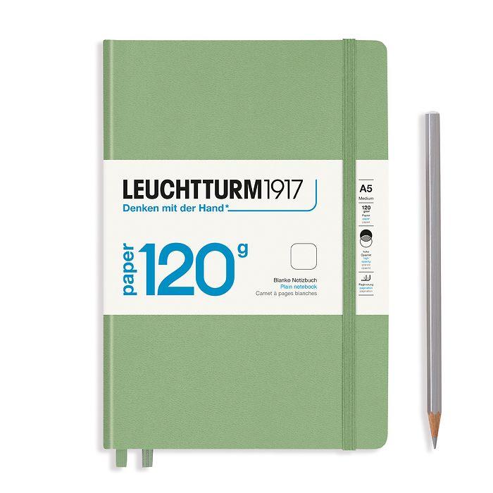 Notizbuch Medium (A5), EDITION 120, Hardcover, 203 nummerierte Seiten, Salbei, blanko